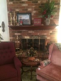 Occasional chairs; fireplace accessories