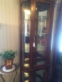 Plant stand and lighted curio cabinet