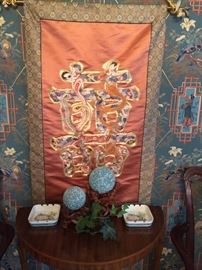 Demilune table; Asian silk tapestry
