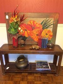 Sofa table; original art; decorative items