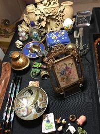 Gilt bronze miniature frames, cloissone, perfums, miniatures, hand painted snuff bottle, large soapstone sculpture, sterling Austirain hand painted miniature lizard, others