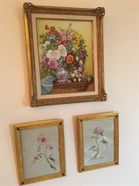 Top: Boehm hand painted ceramic plaque (original cost $4,500 in 1971). Bottom: Pair of Dore gilt bronze frames with inset rubies.