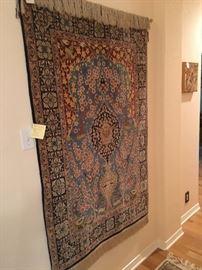 """Persian Isfahan 5.3 x 3.7 silk on wool handwoven """"Tree of Life"""" Kerman rug"""