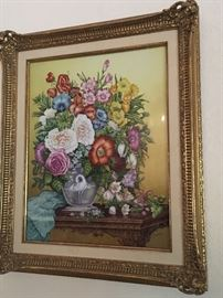 "Detail: Boehm ""Flowers with Enameled Crane Vase"" enameled hand painted porcelain."