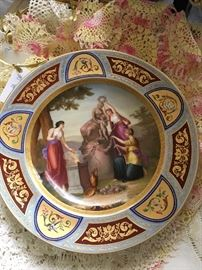 """Royal Vienna hand decorated plate, """"The Three Graces"""""""