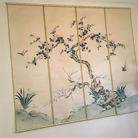 Hand painted wall hanging comprised of four adjoining scrolls.
