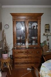 Beautiful antique china hutch circa 1871 to 1900.  See next photo for detailed woodwork.