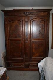 Antique burl wood armoire