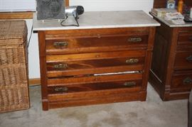 Antique chest with marble top