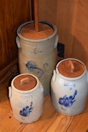 Beautiful Crocks; including Butter Churn and two R. Norton and Company Crocks from Bennington, Vermont.