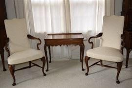 Pair of formal high back chairs and side table