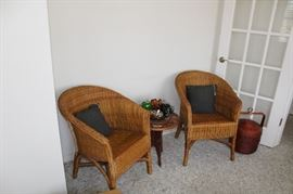 furniture wicker pair chairs