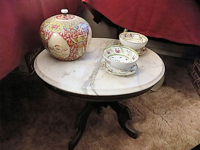 Marble-Top Antique Low Table