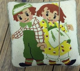 Vintage Raggedy Ann and Andy Needlepoint Pillow