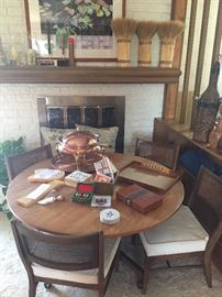 mid-century game table with brass chaffing dish, games, 1940's poker chips and more!