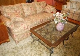 Floral Sofa and Wrought Iron, Wood and Glass Coffee Table