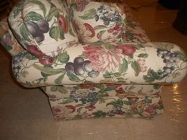 Side View of Floral/Fruit Patterned Sofa