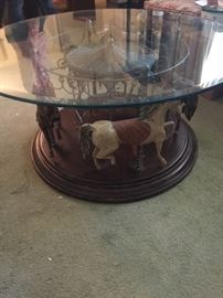 Beautiful carousel horse glass top table, does revolve