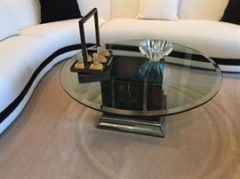 """Black Garmish Marble and Smoked Chrome base with a 44""""round beveled glass top table"""