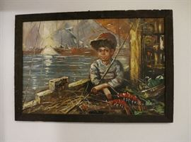 Precious Little Boy Fishing Picture, Oil On Canvas