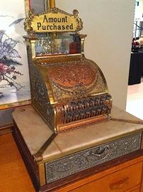* Antique Brass National Cash Registers (1-Model 323 & 1-Manchester, England);(1-Dollars & 1-Pounds) Restored and Fully Functioning..