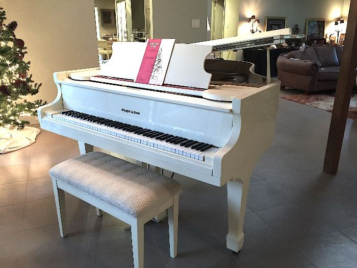 * Schafer & Sons White Baby Grand Piano.