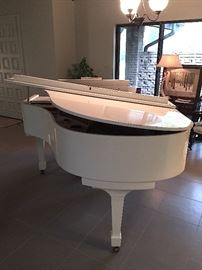 * Schafer & Sons White Baby Grand Piano..