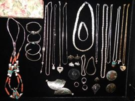 Multiple Sterling necklaces, bracelets and pins