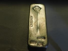 100oz Matthey Silver bar with serial number