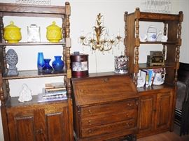Two bookcases with storage, plus drop leaf desk/secretary, sold separately