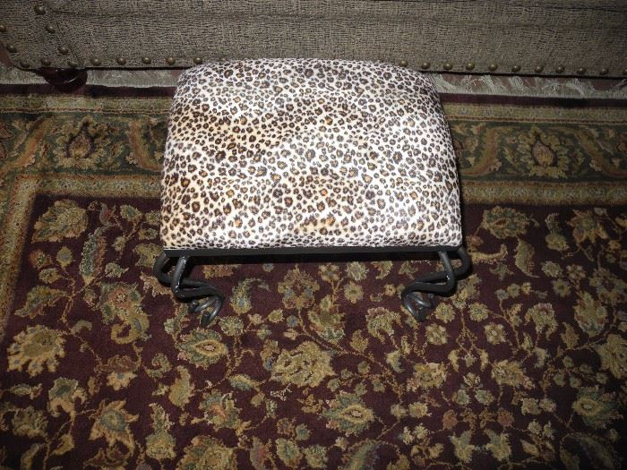 Leopard print footstool