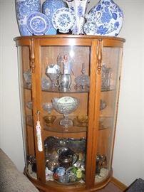 Antique curved glass curio