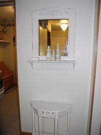 Mirror with shelf and half moon table
