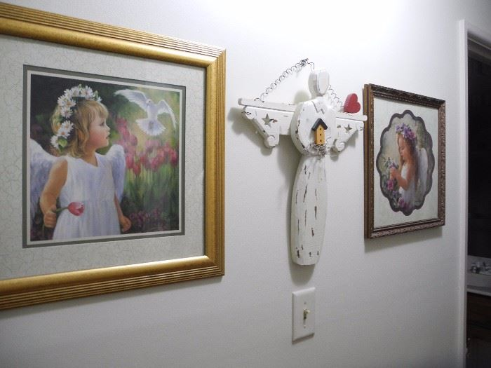 Wooden angel and art pieces