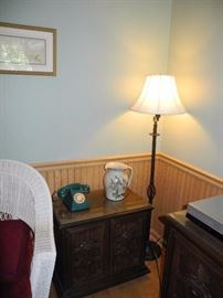 Floor lamp, teal phone, side table or night stand