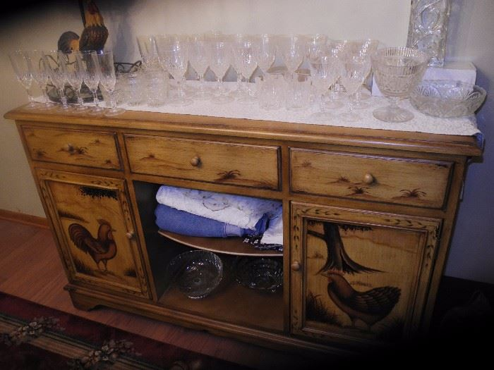 Rooster sideboard with crystal stemware