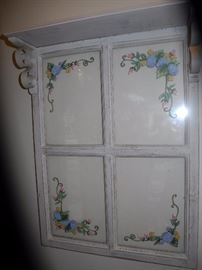 Painted glass window with top shelf