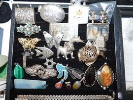 Sterling silver charms and brooches