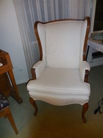 Mid Century Traditional Wing Back Chair. Custom White Fabric Brocade. Mahogany Frame