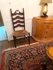 Ladder back chair, this is the largest of the set of six, wool area rug