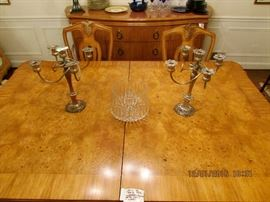 HENRENDON dining table, pair of silver-plate candelabra, crystal bowl
