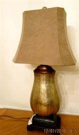 One of a pair of decorator lamps, suede- like shade