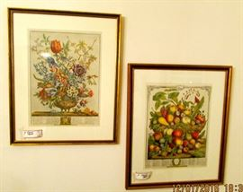 Two of four flowers and fruits of the month framed botanical prints