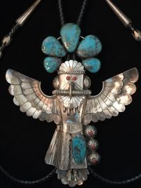 "Jerry Roan Native American Kachina Bolo Tie in Shadow Bow.  Navajo / Hopi? 7""tall x 5"" wing span."