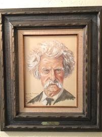 Original watercolor by Joe Grandee Art. Mark Twain.