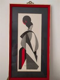 "Original, artist signed (Kiyoshi Saito) Japanese artwork, entitled ""Bunraku"", 1907."