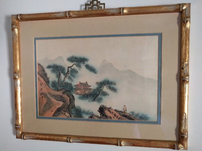 Love the vintage faux bamboo frame, the art, eh.