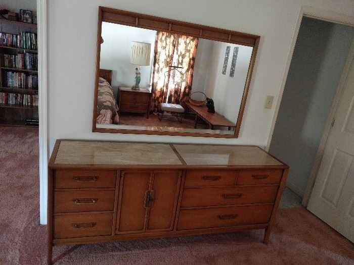 The dresser and mirror are exceptional Drexel MCM pieces, perfect condition and topped with polished travertine.