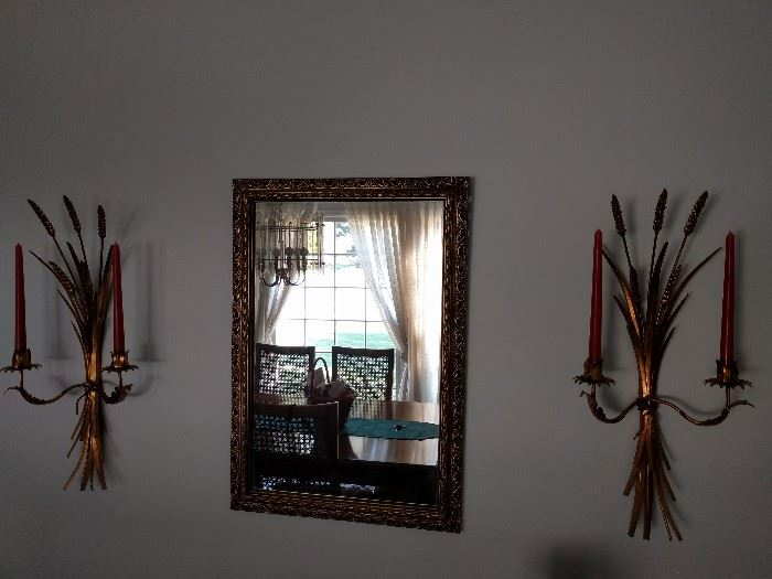 What elegant dining room isn't complete, with a matched pair of pussy willow metal wall sconces?