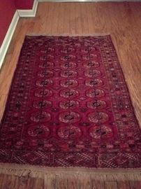 "Cute Bokara, hand woven, 100% wool rug, measures    3' 2"" x 5' 6"""